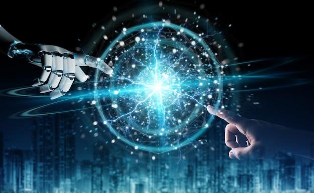 Roboterhand und menschliche hand, die digitales bereichnetz auf dunklem hintergrund berühren Premium Fotos