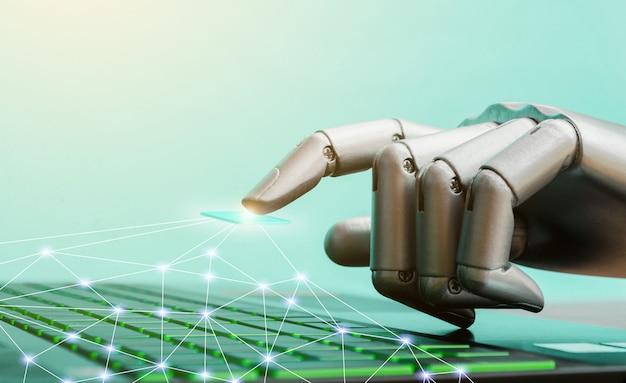 Roboterkonzept oder robotertechnologiehandchatbot, die computertastatur drücken Premium Fotos