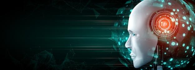 Roboterkopf hautnah mit zukünftiger grafik Premium Fotos