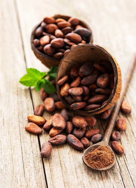 Rohe kakaobohnen Premium Fotos