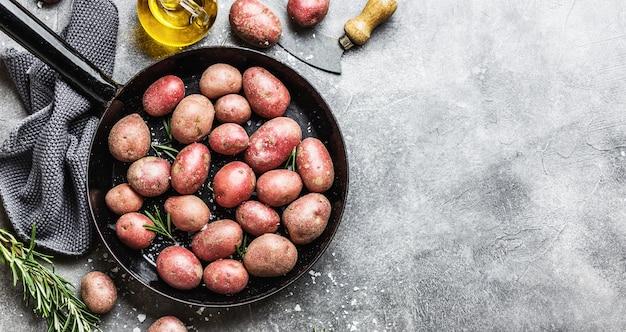 Rohe organische kartoffeln mit gewürzen auf grauem hintergrund Kostenlose Fotos