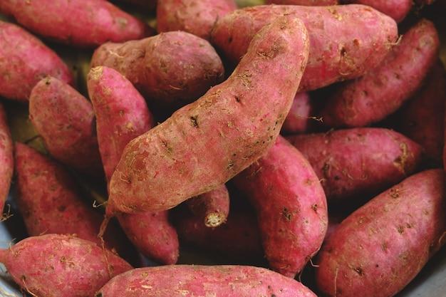 Rohe süßkartoffel. Premium Fotos
