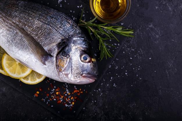 Roher seebrassenfisch Premium Fotos