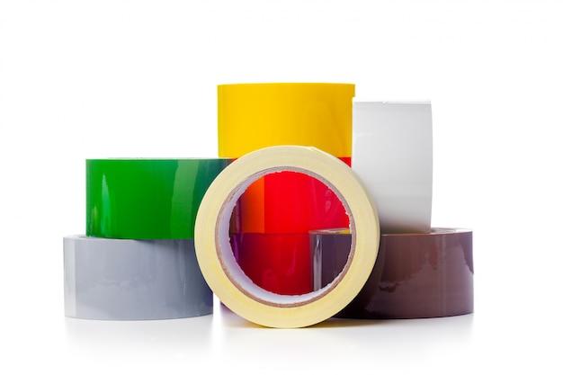 Rollen mit durchsichtigem klebeband Premium Fotos