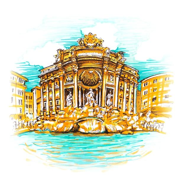 Rom trevi brunnen oder fontana di trevi am morgen, rom, italien. trevi ist am bekanntesten und wird von touristenbrunnen von rom besucht. bild gemachte marker Premium Fotos