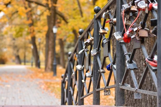 Romantische brücke mit verschlüssen von leuten in der liebe im herbstpark Premium Fotos