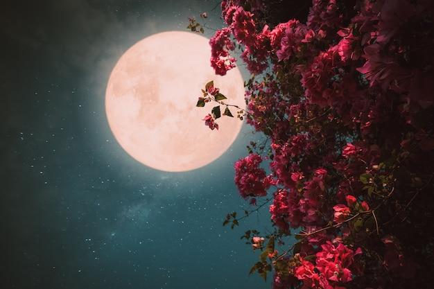 Romantische nachtszene, schöne rosa blumenblüte in den nachthimmeln mit vollmond, retrostilgrafik mit weinlesefarbton. Premium Fotos