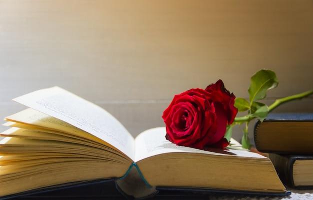 Romantische rote rose auf dem offenen buch Premium Fotos