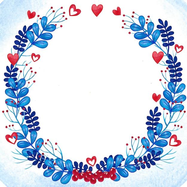Romantischer aquarellblumenkranzrahmen blau und rot Premium Fotos