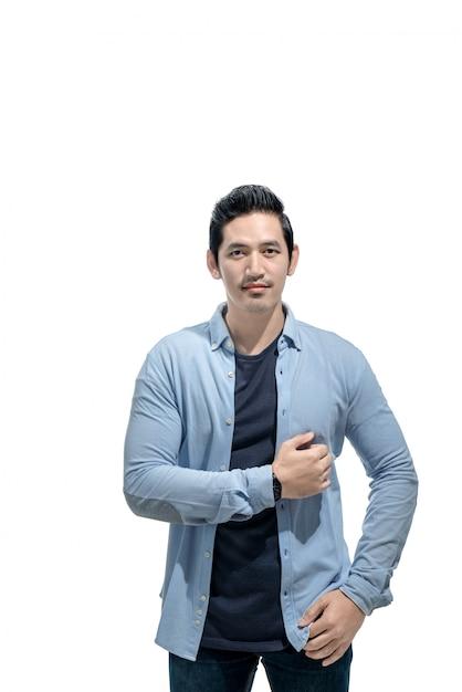 Romantischer asiatischer mann mit blauem hemd Premium Fotos
