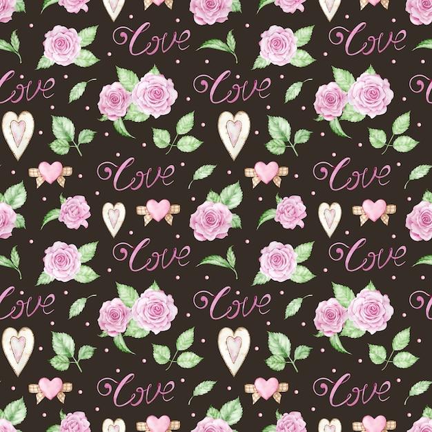 Romantischer hintergrund des aquarells mit rosa rosen, herzen und liebeswort. Premium Fotos