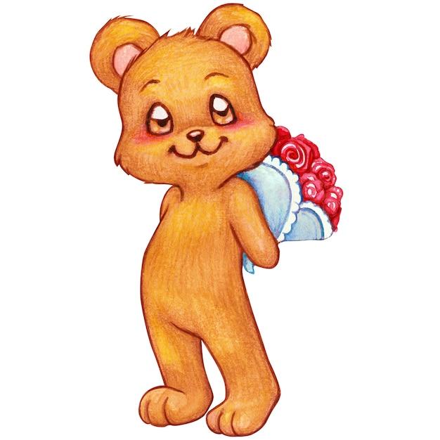 Romantischer teddybär des aquarells, der einen rosenblumenstrauß hält Premium Fotos