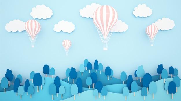 Rosa ballone auf gebirgs- und himmelhintergrund. grafik für internationales festival des ballons. Premium Fotos