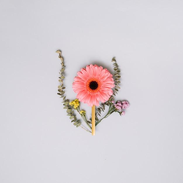 Rosa blumenknospe mit kleinen niederlassungen auf tabelle Kostenlose Fotos