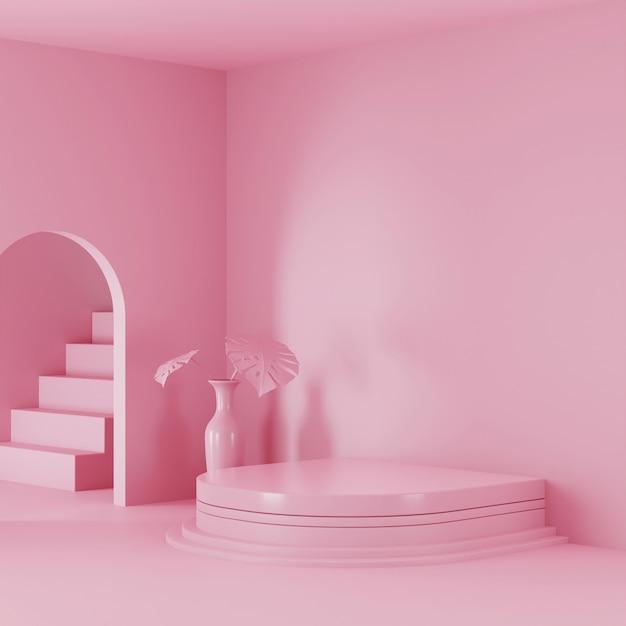 Rosa farbszenenpodestanzeige für produktanzeige. 3d gerendertes foto Premium Fotos