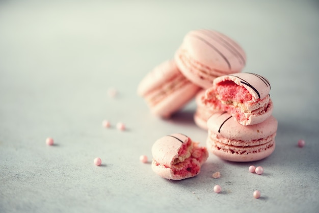 Rosa französische makronen. Premium Fotos