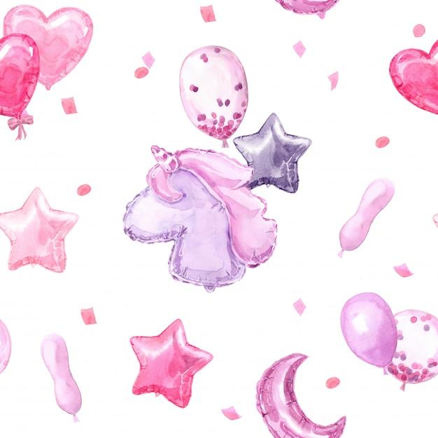 Rosa kindernahtloses muster mit hellen ballonen, sternen, einhorn und herzen Premium Fotos