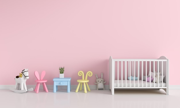 Rosa kinderrauminnenraum für modell, wiedergabe 3d Premium Fotos