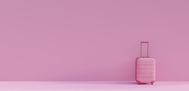 Rosa koffer auf rosa hintergrund. konzept des tourismus und des reisens. minimaler stil. 3d-rendering Premium Fotos