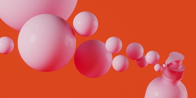 Rosa kosmetikflasche und kugel auf korallenhintergrund Premium Fotos
