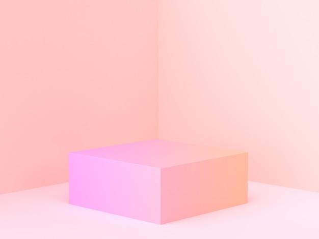Rosa orange abstrakte wandeckenszene 3d, die minimales steigungspodium überträgt Premium Fotos