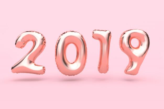 Rosa-rosafarbene goldzusammenfassungsballonart-zahl, die rosafarbene wiedergabe des neuen jahres 3d des hintergrundes des hintergrundes schwimmt Premium Fotos