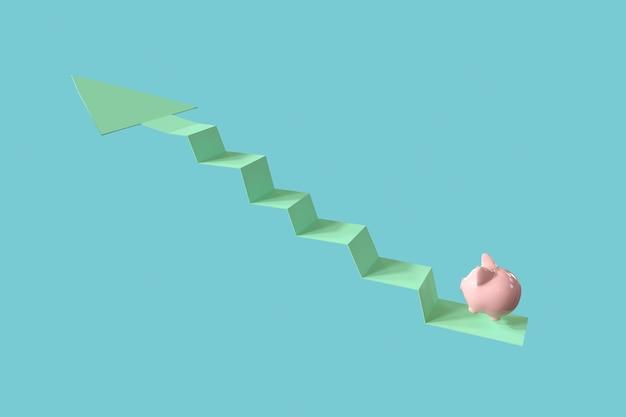 Rosa sparschwein springen auf pfeil oben. minimale idee geschäftskonzept. 3d-rendering. Premium Fotos