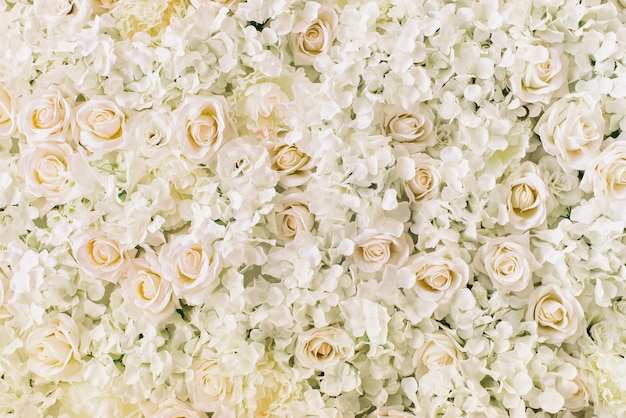 Rosen, hortensie, pfingstrosen blühen als hintergrund Premium Fotos