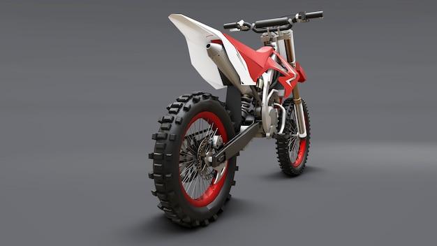 Rot-weißes sportfahrrad für den langlauf. racing sportbike. modernes supercross motocross dirt bike. 3d-rendering. Premium Fotos