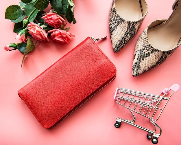 Rote damenbrieftasche aus leder Premium Fotos