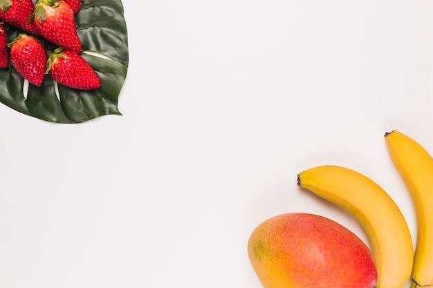 Rote erdbeeren auf monstera und banane mit mango in der ecke auf weißem hintergrund Premium Fotos