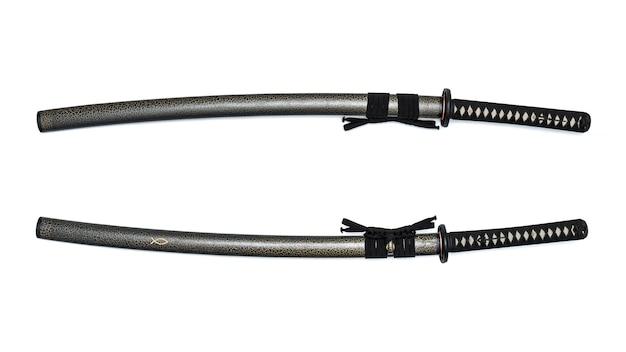 Rote klinge japanisches schwert schwarze kordel mit voll strukturierter scheide. Premium Fotos