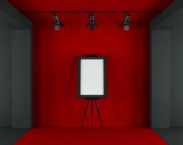 Rote und schwarze minimalistische kunstgalerie Premium Fotos