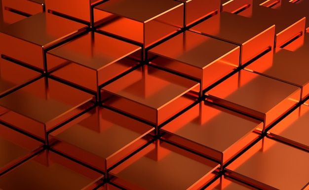 Roter abstrakter kubikhintergrund. 3d-rendering Premium Fotos
