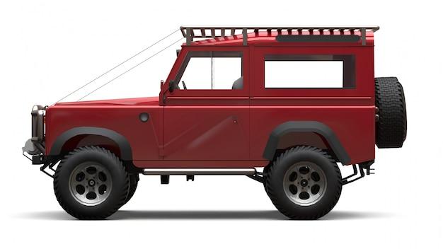 Roter alter kleiner suv, abgestimmt auf schwierige strecken und expeditionen. 3d-rendering. Premium Fotos