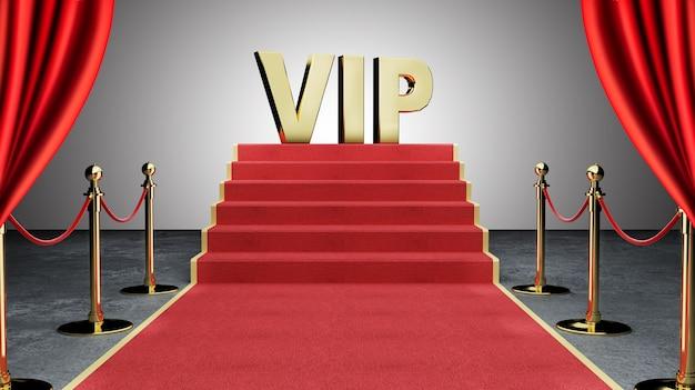 Roter ereignis-teppich, treppe und goldseil-sperren-konzept des erfolgs und des triumphes Premium Fotos
