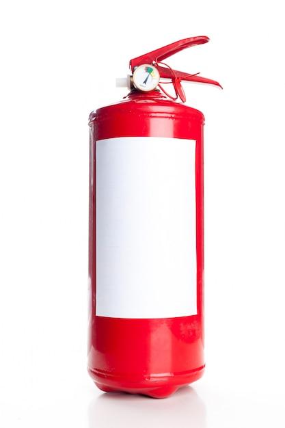 Roter feuerlöscher getrennt auf weiß Premium Fotos