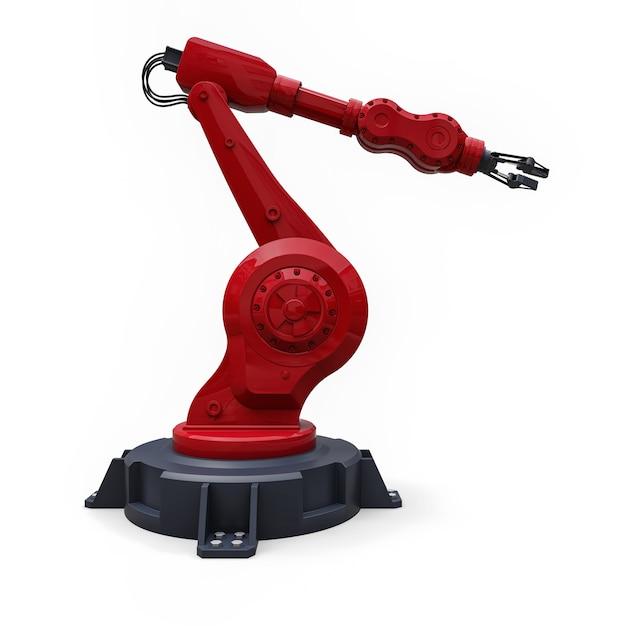 Roter roboterarm für jede arbeit in einer fabrik oder produktion. mechatronische ausrüstung für komplexe aufgaben. abbildung 3d. Premium Fotos