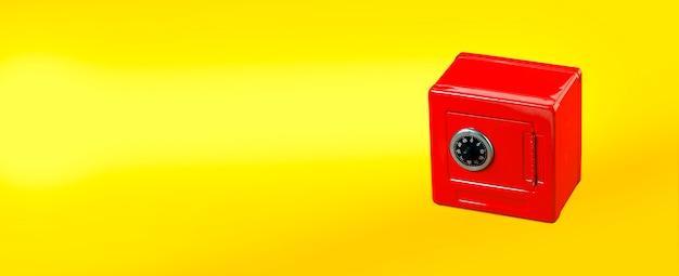 Roter safe isoliert auf gelb Premium Fotos