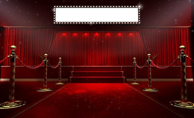 Roter vorhang und ein scheinwerfer. festivalnacht-showplakat Premium Fotos
