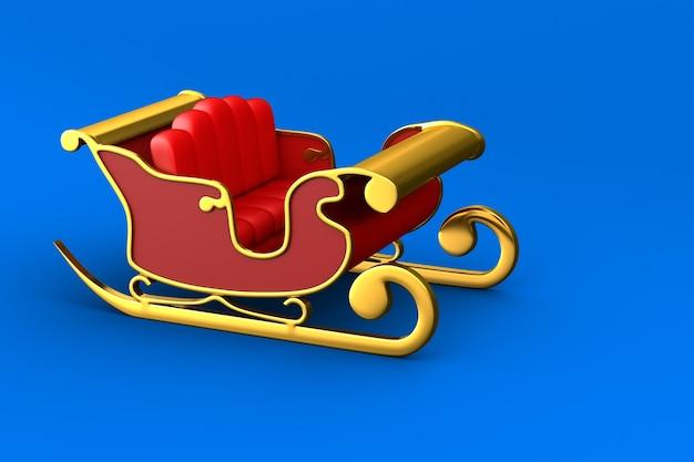 Roter weihnachtsschlitten auf blauem hintergrund. isolierte 3d-illustration Premium Fotos