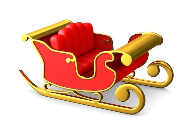 Roter weihnachtsschlitten auf weißem raum. isolierte 3d-illustration Premium Fotos