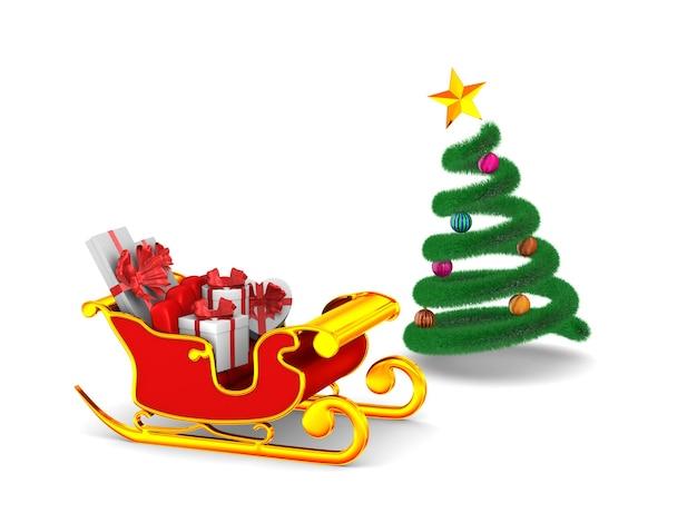 Roter weihnachtsschlitten mit geschenkboxen auf weiß. isolierte 3d-illustration Premium Fotos