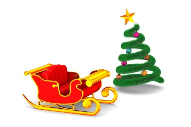 Roter weihnachtsschlitten und baum auf weiß. isolierte 3d-illustration Premium Fotos