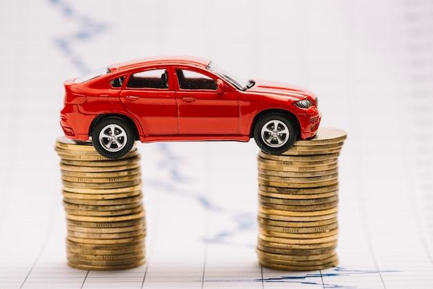 Rotes auto des spielzeugs, das auf dem stapel der goldenen münzen über dem börsediagramm balanciert Kostenlose Fotos