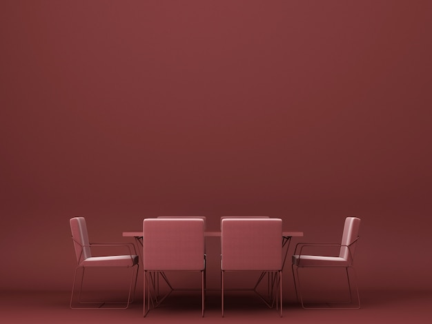 Rotes esstisch und stuhl 3d rendering Premium Fotos