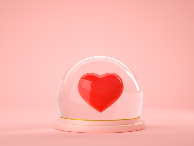 Rotes herz innerhalb der glaskugelkugel auf rosa hintergrund Premium Fotos