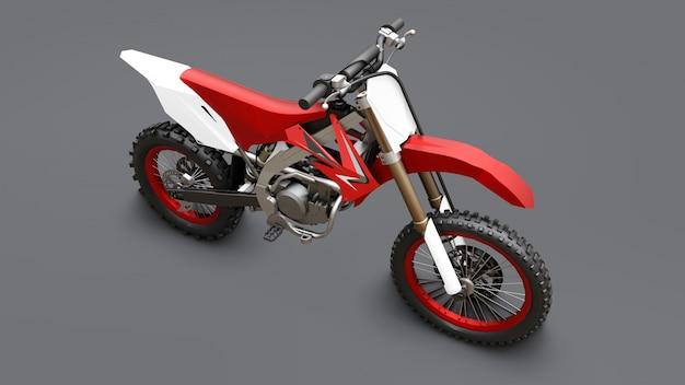Rotes und weißes sportfahrrad für querfeldein auf einem grauen hintergrund. racing sportbike. modernes supercross motocross dirt bike. 3d-rendering. Premium Fotos