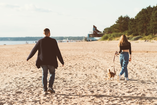 Rückansicht des jungen glücklichen paares und des hundes, die am strand gehen Premium Fotos