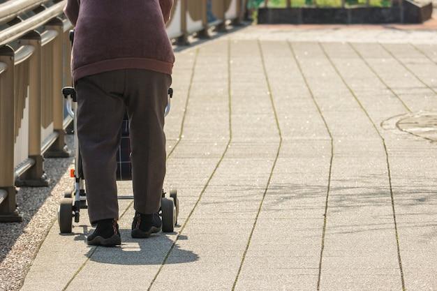 Rückseite der älteren person, die eine ältere tragewalze auf dem weg einsam fängt. Premium Fotos
